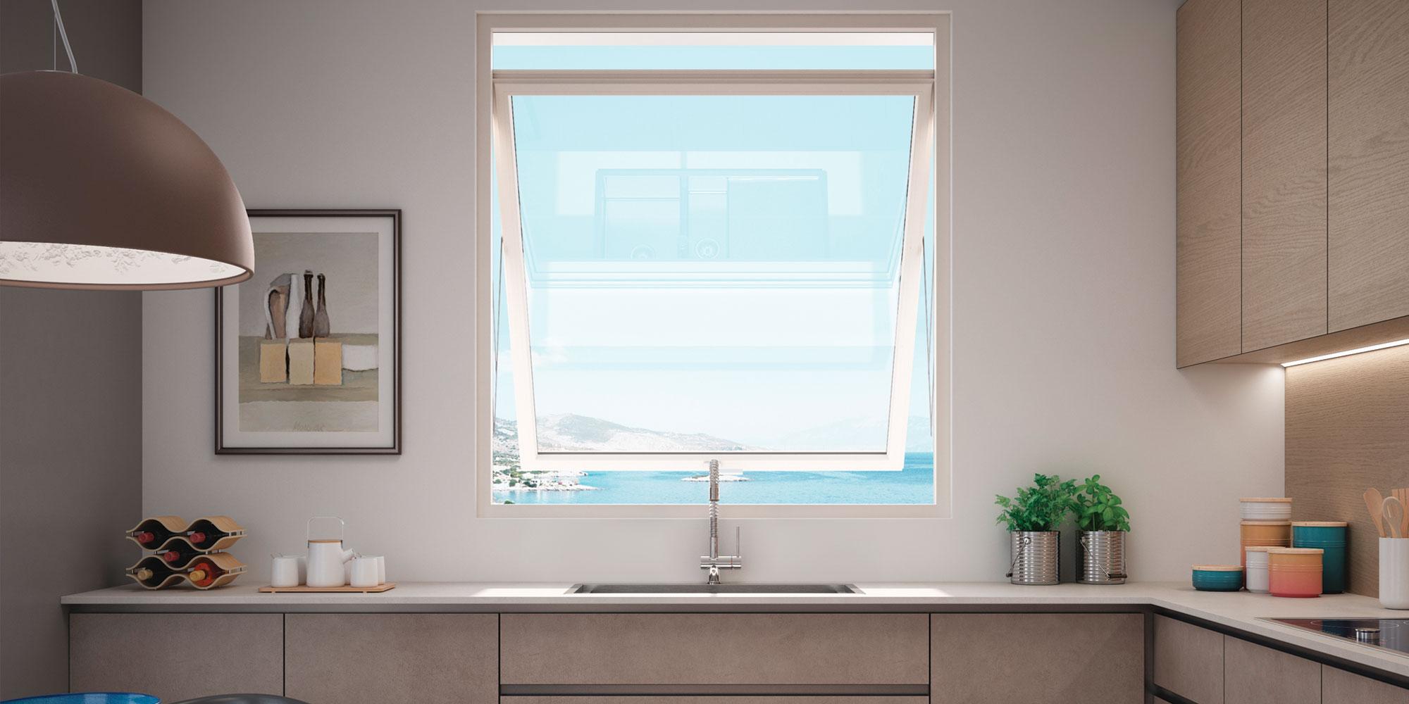 Cucina-con-finestra-Prolux-Swing-di-Oknoplast